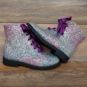 Wonder Nation Girls Ombre Glitter Combat Boots
